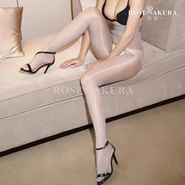 Wholesale black stockings waist high - Women 8D Oil Shine Open Crotch Tights Glitter Pantyhose Oil Shiny Glossy Stocking Pantyhose Transparent Stocking High Waist 912