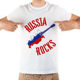55f26d5704 rock guitar t shirts Desconto Rússia mapa guitarra projeto cool tshirt  homens verão novo branco de