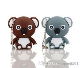 Tarjetas flash de animales online-Fantástico lindo de dibujos animados Koala Bear USB Flash Drive 32 GB DOS COLORES Memory Stick Pen Drive Cool Flash Card Cute Animals USB Flash Drive U40