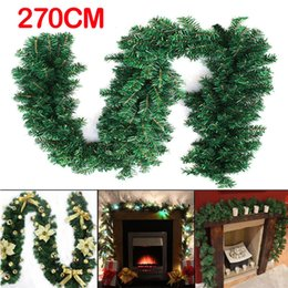 Wholesale indoor wreaths - 2 .7m (9ft )Artificial Green Wreaths Christmas Garland Fireplace Wreath For Xmas New Year Tree Home Party Decoration