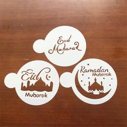 Spruzzo di muffa online-Creativo Cake Decor Stencil PET Moschea Eid Mubarak Ramadan Design Fondente Caffè Spruzzo Decorazione Strumento Cutter Mold 2 2cd YY