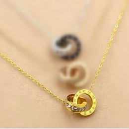 Wholesale Double Heart Necklace Diamond - 925 sterling silver plated rose gold double ring necklace female ring with diamond letters love pendant gold color clavicle chain silver