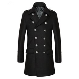 Wholesale Red Wool Trench Coat - Tailor-made men Autumn and winter business thick and leisure double-breasted middle-aged male wool long trench coat