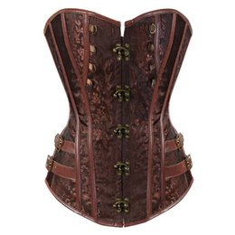 plus size clubwear 4xl 5xl Coupons - Women's Gothic Steampunk Corset Spiral Steel Boned Jacquard Overbust Corset Bustier Clubwear Body Shaper Plus size S-6XL