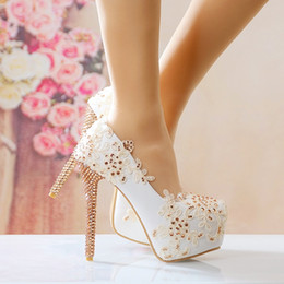 Wholesale Golden Party Shoes - New golden water drill lace bride shoes super high heel waterproof platform with round head banquet shoes wedding photo wedding shoes