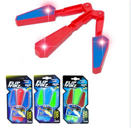 Wholesale decompression toys - LED Light Up Bardian Flip Finz Give Out Light Flail Knife Toys Fidget Spinner Motion Rotate Butterfly Knifes Decompression Toy Y