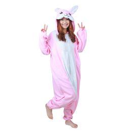New Winter Adult Cartoon Animal Pink Coniglio Tutina Unisex Tutina Pigiama Costumi di Halloween Per le donne Costume da notte cosplay da