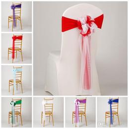 cravatta in spandex Sconti Spandex Chairs Bands Rose Flower Romantico Organza Chair Cover Sash Per Compleanno Decorazione Festa di Nozze Legami Molti Colori 5hm ZZ