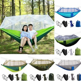 Wholesale Blue Mosquito Net - 12 colors Outdoor Hammock With Mosquito Nets Travel Picnic Camping Hanging Bed Aerial Tents Portable Hammocks EEA296 12PCS