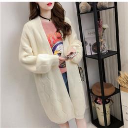Otoño Invierno espesar suéter de la rebeca de las mujeres de Corea  estudiante tejer suéteres de algodón abrigo sólido suelta Befree Casual  chaqueta para ... 7ee210a9e4e0