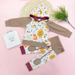 calças do bebê da coruja Desconto Bebê Animais Moletom Com Capuz Criança Roupas Tops T-shirt + Calças 2 PCS Set Roupas de Bebê recém-nascido Coruja Fox Manga Comprida roupas de Bebê Menino Roupas 0-24 M