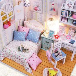 Wholesale Furniture Magic - Wholesale-Kits DIY Wood Handmade Dollhouse Bed Miniature With LED+Furniture+cover Magic