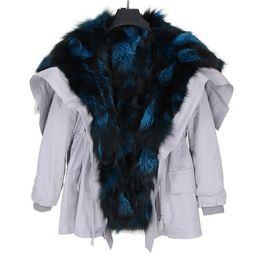 Роскошные серебристо - синий лисий мех отделка дамы снег пальто серебристо-синий лисий мех подкладка белый средний длинный парка США Германия от