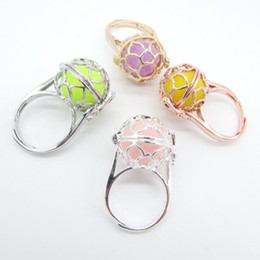 Wholesale Cage Rings - whole sale2018 New Collection Hollowed Floral Pattern Locket Cage DIY Felt Ball Fashion Aroma Perfume Essential Oil Diffuser Ring