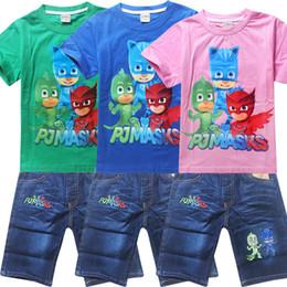 Wholesale Winter Sports Mask - 2017 fashion PJ MASKS Cartoon Printed Summer T-Shirt Children Clothing sets Cotton Boys Girls jeans sport suits Kids Costume