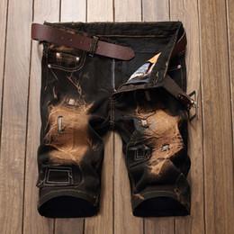 Wholesale Vintage Plus Size Clothing - Summer Vintage Men Short Jeans Mens Hole Shorts Men Summer Clothes New Fashion Brand Men Short Pants Knee Length Jeans