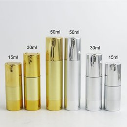 2019 tapa de empuje 300 x 15ml 30ml 50ml Aluminum Airless lotion Pump Bottle 1OZ Airless Container 30ML Lotion Airless Packaging Gold Silver Color