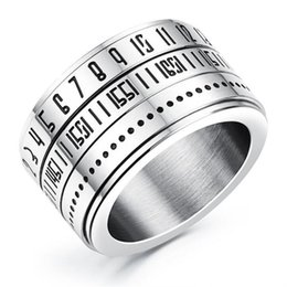 Wholesale gothic punk fashion accessories - Stainless Steel Fashion Gothic Men Jewelry Can Be Rotated Arabic Numerals Ring Men Finger ornaments Men Male Accessories Punk rings