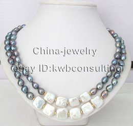 """Wholesale 14mm freshwater pearls - P8143 - 19-20"""" 2row 9-11-14mm white & black baroque freshwater pearl necklace -"""