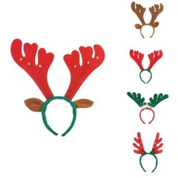 Wholesale deer hair - Xmas Deer Antlers Hairband Children Bell Cloth Non Woven Hair Headband Christmas Gift Kids Hair Accessories 300pcs OOA5392