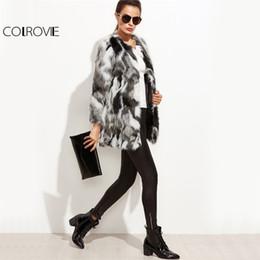 Wholesale Women Winter Work Coats - Wholesale-COLROVIE Faux Fur Fuzzy Coat Women Color Block Open Front Elegant Autumn Coats 2017 Fashion Winter Long Sleeve OL Work Coat