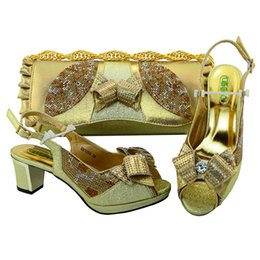 Wholesale shoes bag sets - Fashion Women Gold Shoes and Bag Sets for Women Italian Shoes with Matching Bags for Women African Shoes and Bag Set for Wedding