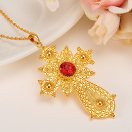 Wholesale Brass Items - Bangrui Ethiopian Big Cross Pendant Necklaces for Women Men, Gold Color Africa Ethiopia Crosses Jewelry Eritrea Items