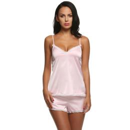Encaje asiático online-Tamaño asiático Ropa de mujer para pantalones cortos de verano Conjuntos con cuello en V 7 colores Ropa de dormir Satén Pijama Correa de espagueti Encaje Conjunto de pijama sexy