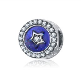Wholesale pandora star necklace - Fits Pandora Bracelets 30pc Blue Stars Enamel Silver Charms Bead Dangle Charm Beads For Wholesale Diy European Sterling Necklace Jewelry