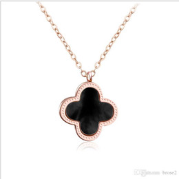 Wholesale Gold Clover Charm Necklace - Lucky clover necklace manufacturers jewelry wholesale stainless steel pendant clavicle chain clavicle chain