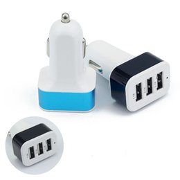Wholesale Usb Triple Socket Car - Universal Triple USB Car Charger Adapter USB Socket 3 Port 5v 3.1A Car-charger For iPhone Samsung Ipad Cell Phone Chargers