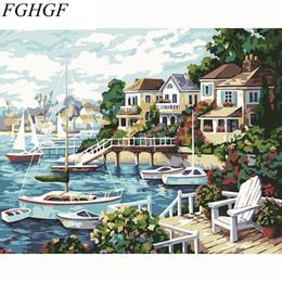 ilustraciones pintadas a mano Rebajas FGHGF Resorts paisaje pintura DIY por números dibujo pintura sobre lienzo pintado a mano Wall Art imagen para el hogar ilustraciones