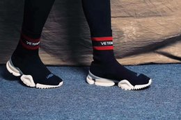 Wholesale Patchwork Cowboy Boots - VETEMENTS SS CREW UNISES Sock Trainer Dropping RUNNING Shoes CN3307 Black Red Socks Shoes Luxury Brand Casual Shoes