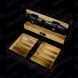 Wholesale lighter cigar cutter - New Arrival COHIBA Black Leather Cedar Lined Cigar Case Cigarette Humidor with Cutter & Lighter free shipping