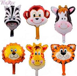 Canada FENGRISE 6pcs / lot Mignon Jungle Feuille Animal Ballons Lion Monkey Cerf Helium Baloons Enfants Faveurs Fête D'anniversaire Décoration Ballon Offre