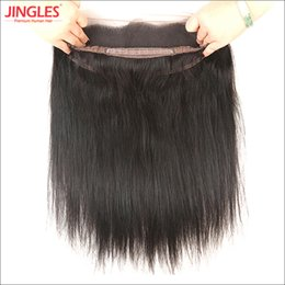 Wholesale Healthy Natural Hair - 100% Unprocessed Raw Indian Virgin Human Remy Hair 360 Lace Frontal Straight weave with healthy baby hair natural black DHL Free shipping