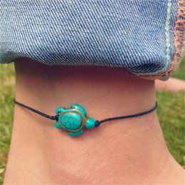 Wholesale rope anklets - Vintage Green Stone Turtle Rope Ankle Bracelets Women Chain Foot Anklets Summer Foot Accessory