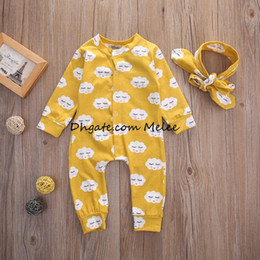 Wholesale Boys 24 Months Pajamas - INS New Spring Kids yellow romper Sets Boys Girls Outfits Long Sleeve Smile Cloud Rompers + Headband 2pcs Baby Suits Newborn Pajamas