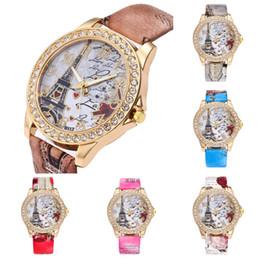 reloj paris eiffel Rebajas 2018 Moda Vintage París Torre Eiffel Reloj de Moda de Mujer Reloj de pulsera de Cuarzo Reloj de Cuero Cristalino relogio feminino