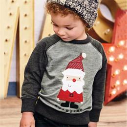 Roupas de papai noel para bebé on-line-T-shirt do Bebê de natal Papai Noel Impressão Pullover Sweaters Crianças moletom Com Capuz inverno quente Casuais Raglan Boy Roupas de Grife