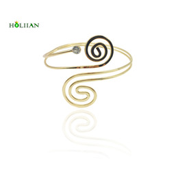Wholesale Beach Arms - whole sale2017 new carter love bracelet&bangles punk upper arm bracelet cuff silver color hiphop spiral beach armlet women mujer bijoux