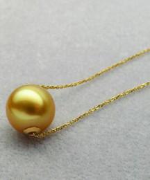 Ciondolo perle d'oro del mare del sud online-Spedizione gratuita 10-11MM Genuine South Sea Golden Pearl Pendant Necklace 18 Yellow Gold Chain