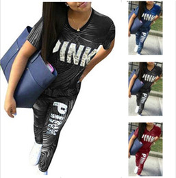 Wholesale Girls Legging Shorts - Love Pink Letter Stripe Women Clothing Set Short Slevee T shirt+Legging Pants 2pcs set Tracksuit Sportswear Sportsuit S-3XL Plus Size