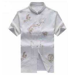 2019 camisa del dragón del fu del kung Camisas para hombres Tang Ropa Tradición Bordado Chino Estilo Dragón Moda Hombre Kung Fu Uniforme Tai Chi Male Stand Collar Blusa camisa del dragón del fu del kung baratos