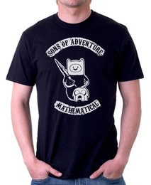 Wholesale adventure time finn jake - Cotton Shirts Sons of Adventure Time Anarchy Mathematical Jake Finn black cotton t-shirt F9834 100% Cotton Top Tees
