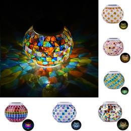 Wholesale waterproof led lights table decorations - Mosaic Glass Ball Garden Lights Color Changing LED Solar Light Waterproof Solar Powered Table Lamps for Parties Decorations Xmas