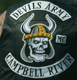 Wholesale Vest Army - NEW ARRIVAL COOL MC DEVILS ARMY CAMPBELL RIVER EMBROIDERY PATCH MOTORCYCLE CLUB VEST OUTLAW BIKER MC JACKET PUNK IRON ON LARGE BACK PATCH
