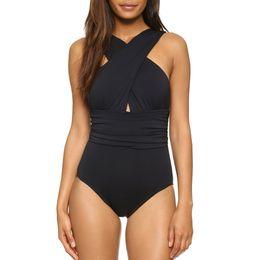 Nadar para as mulheres on-line-2018 Preto Vermelho Sexy Cruz Halter Mulheres Swimwear Um Pedaço Swimsuit Preto Vermelho Sólido Mulheres Trajes De Banho Beach Wear Swim