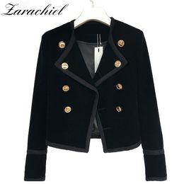 Wholesale Velvet Collar Suit - Zarachiel Runway Women Notched Collar Short Jacket Coat 2017 Autumn Winter Double Breasted Suit Female Velvet Black Slim Outwear