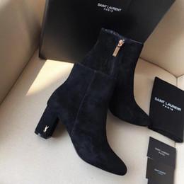 Bottes en cuir véritable de luxe français S @ INT LAUREUT femmes, bottes à talons hauts en dehors de la conception patchwork à glissière, bottes décontractées vraiment boîte de bottes ? partir de fabricateur